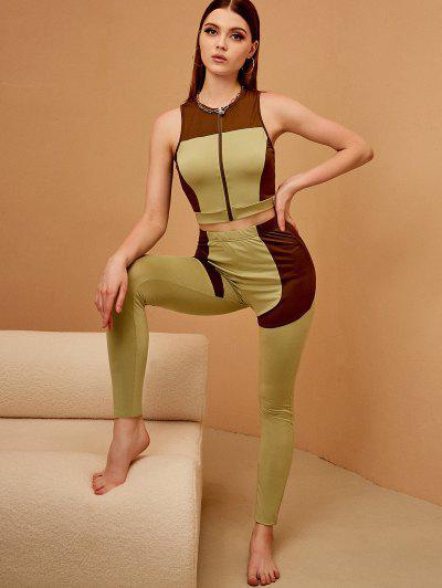 ZAFUL Two Tone Zip Cutout Two Piece Pants Set - Green M
