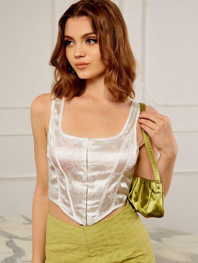 Hook And Eye Jacquard Silky Corset Top - White S