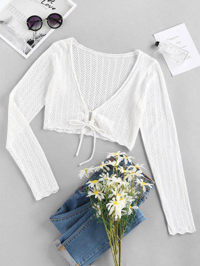 ZAFUL Plunge Tie Pointelle Knit Crop Cardigan - White S