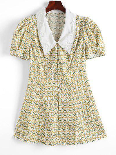 ZAFUL Retro Flat Collar Gingko Leaf Gigot Sleeve Dress - Light Yellow M