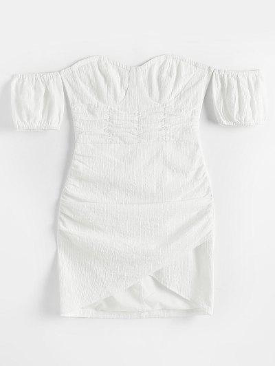 ZAFUL Off Shoulder Ruched Tulip-hem Textured Bustier Dress - White S