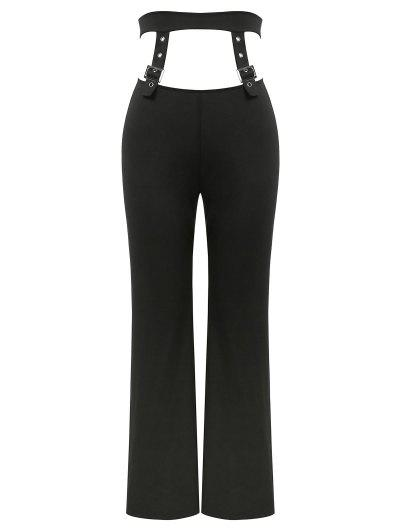 ZAFUL Buckle Detail Cut Out Straight Pants - Black S
