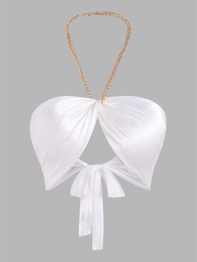 Chain Halter Silky Satin Twist Underboob Top - White S