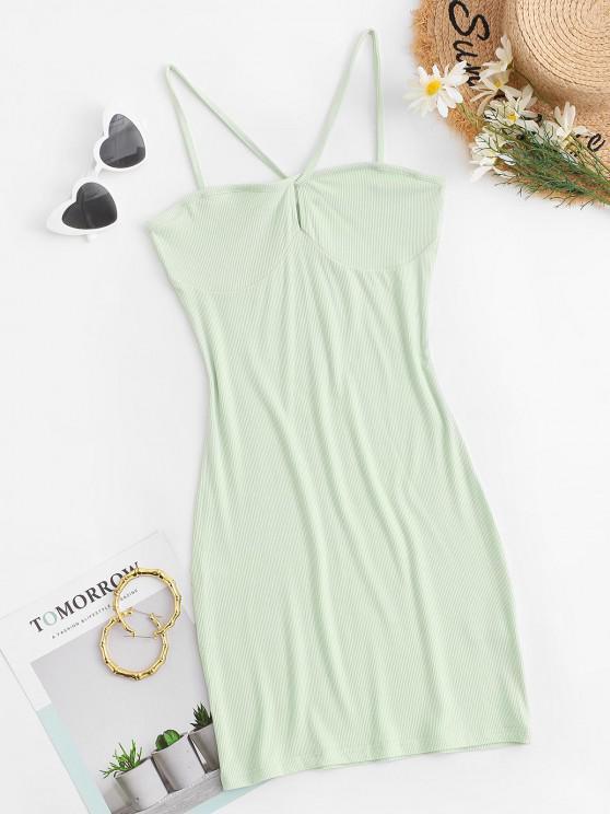 sale Ribbed Keyhole Bodycon Dress - LIGHT GREEN S