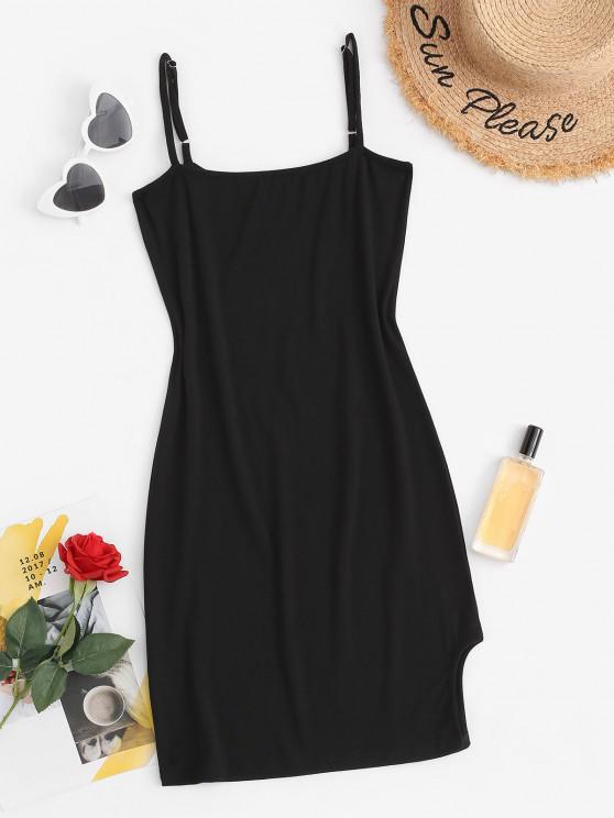 shops Split Hem Bodycon Slip Mini Dress - BLACK M
