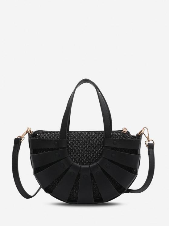 Hollow Straw Woven Semicircle Handbag - أسود