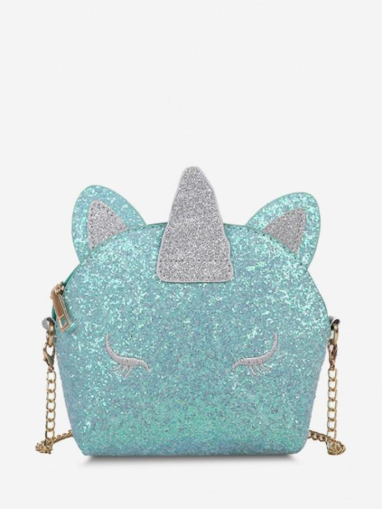 Glitter Unicorn Shape Crossbody Bag - الفيروز الداكن