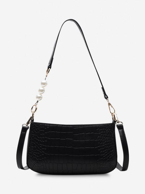 Embossed Faux Pearl Double Strap Shoulder Bag - أسود