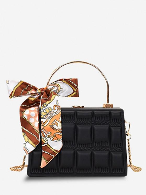 Quilted Embossed Scarf Crossbody Bag - أسود