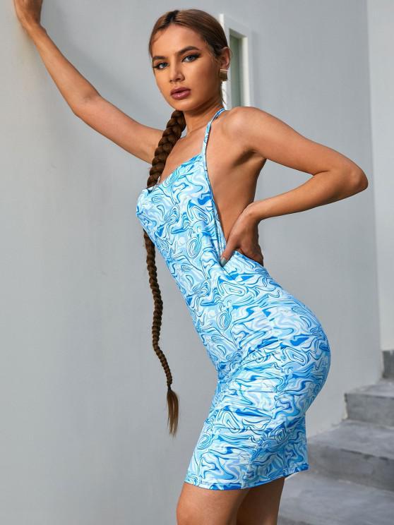 ZAFUL Robe Drapée Vague Imprimée à Col Halter - Bleu clair XL