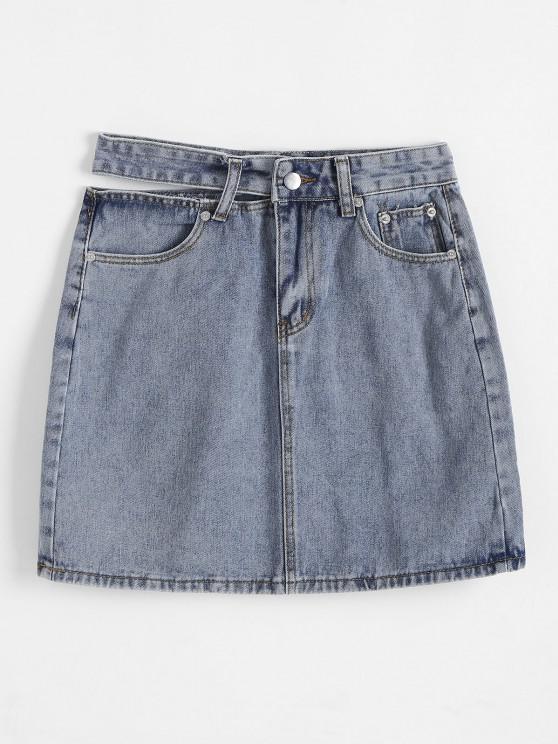 trendy Cut Out Waist Denim Pelmet Skirt - BLUE S