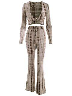 Tie Dye Twisted Two Piece Flare Pants Set - Coffee S