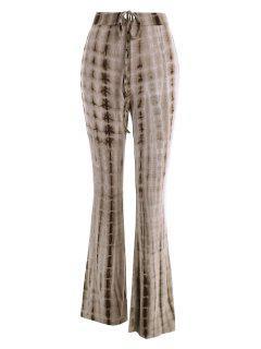 Tie Dye Drawstring Flare Pants - Coffee M