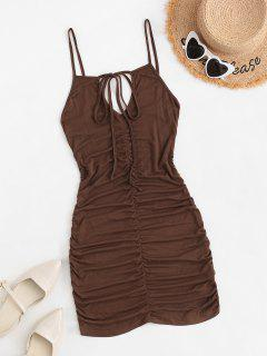 Ruched Dual Strap Bodycon Cami Dress - Deep Coffee L