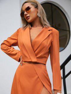 One Button Lapel Cropped Blazer - Orange S