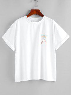 ZAFUL Camiseta Básica Con Estampado De Mariposa - Blanco L