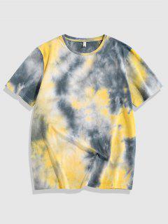 ZAFUL Camiseta De Tie-dye Con Bordado De Rosa - Amarillo Xxl