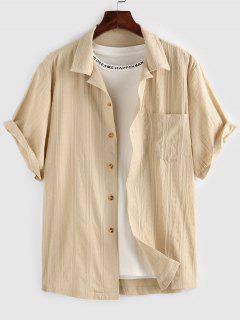 ZAFUL Front Pocket Buttons Swiss Dot Shirt - Light Yellow Xl