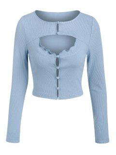 ZAFUL Loop Button Ribbed Cutout Cropped Tee - Light Blue M