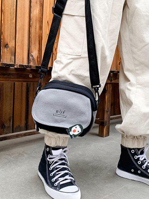 Farbblock Canvas Mini Klappe Umhängetasche mit Reißverschluss - Grau  Mobile