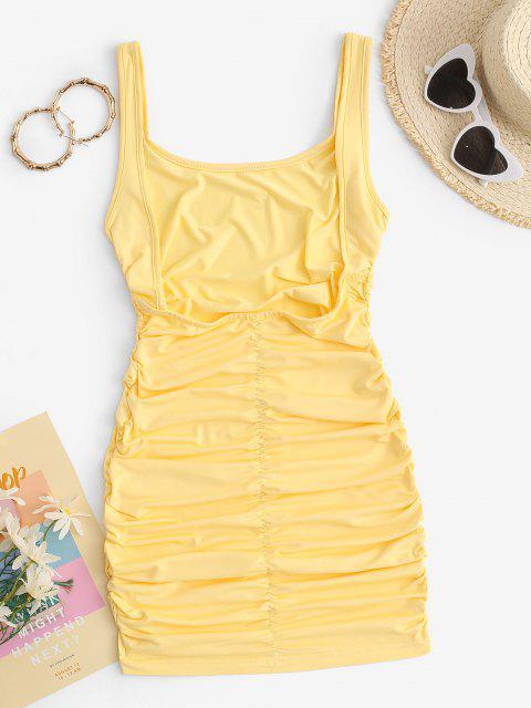 Bodycon Trägerkleid mit Tiefem Rücken - Gelb M Mobile