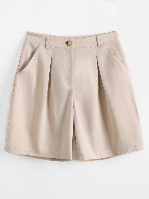 fancy Zipper Fly Pocket Smart Shorts - LIGHT COFFEE S Mobile