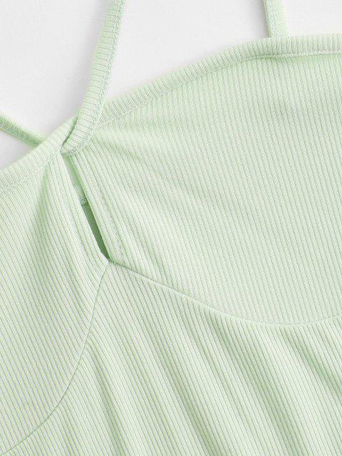 Geripptes Bodycon Schlüsselloch Kleid - Hellgrün M Mobile