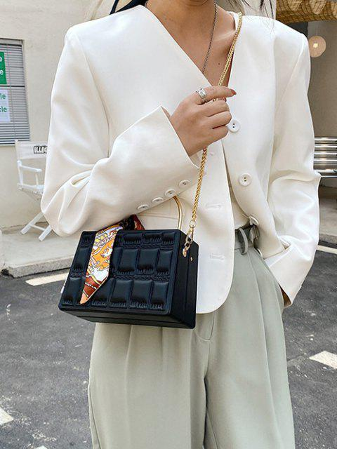 Steppgedeckter Geprägter Schal Crossbody Bag - Schwarz  Mobile