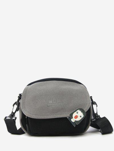 Colorblock Canvas Mini Flap Crossbody Bag With Badge - Gray