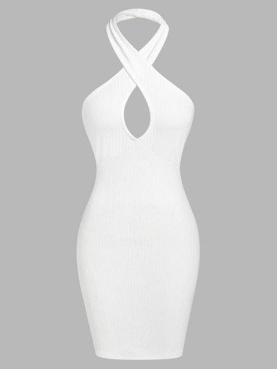 ZAFUL Ribbed Halter Backless Bodycon Dress - White S