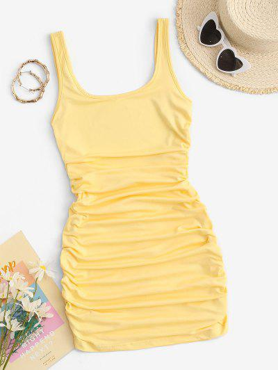 Ruched Low Back Bodycon Tank Dress - Yellow S