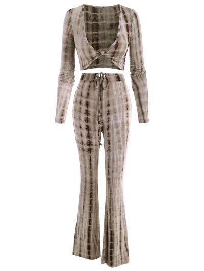 Tie Dye Twisted Two Piece Flare Pants Set - Coffee M