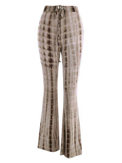 Tie Dye Drawstring Flare Pants - Coffee S
