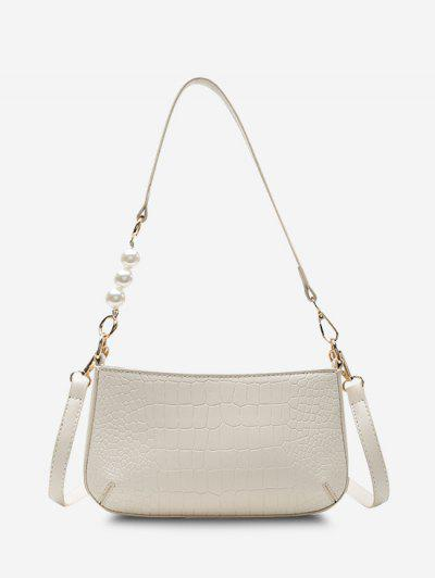 Embossed Faux Pearl Double Strap Shoulder Bag - Crystal Cream