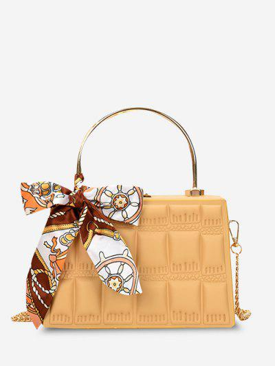 Quilted Embossed Scarf Crossbody Bag - Yellow