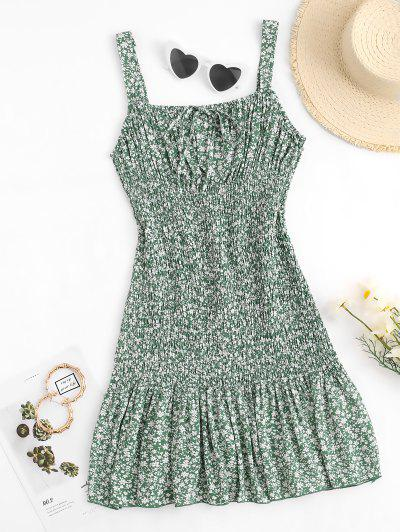 Flower Print Ruched Bust Smocked Mermaid Dress - Green L