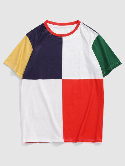 Colorblock Short Sleeve T-shirt - Red Xxl