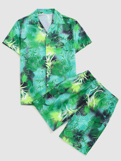 Tropical Leaf Vacation Shirt And Shorts Set - Medium Forest Green L