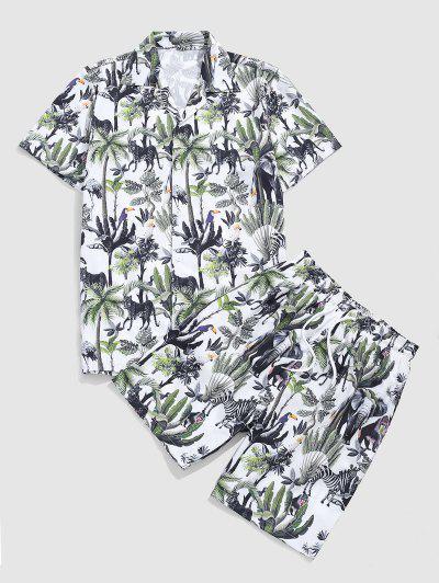 Tropical Plant Animal Print Vacation Shirt And Shorts - White Xxl