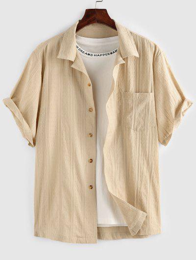 ZAFUL Front Pocket Buttons Swiss Dot Shirt - Light Yellow M