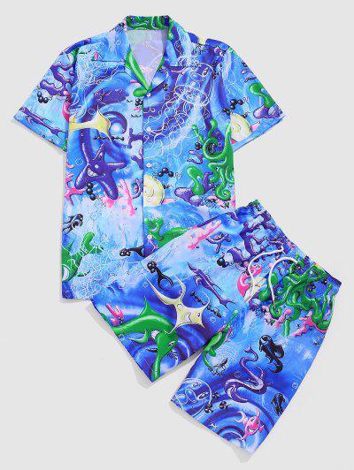 Marine Leben Urlaub Hemd Und Shorts Set - Seiden Blau L
