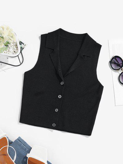 ZAFUL Lapel Button Front Knit Sleeveless Top - Black M