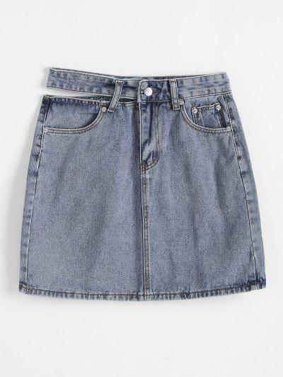 Cut Out Waist Denim Pelmet Skirt - Blue S