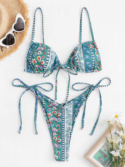 ZAFUL Ethnic Floral Tie Side Ribbed String Bikini Swimwear - Deep Green S