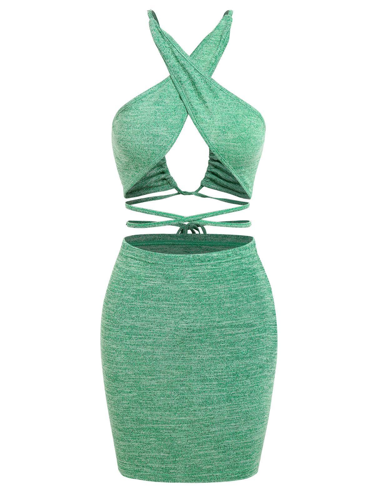 ZAFUL Heather Criss Cross Midriff Flossing Bodycon Skirt Set