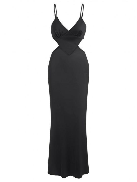 outfit Silky Satin Cutout Maxi Slip Dress - BLACK XS