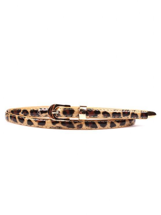 hot Leopard Print Slim Gold Tone Buckle Belt - LEOPARD