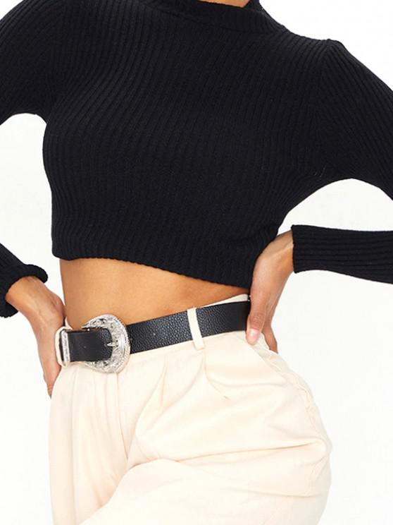 outfit Retro Engraved Silver Tone Buckle Belt - BLACK