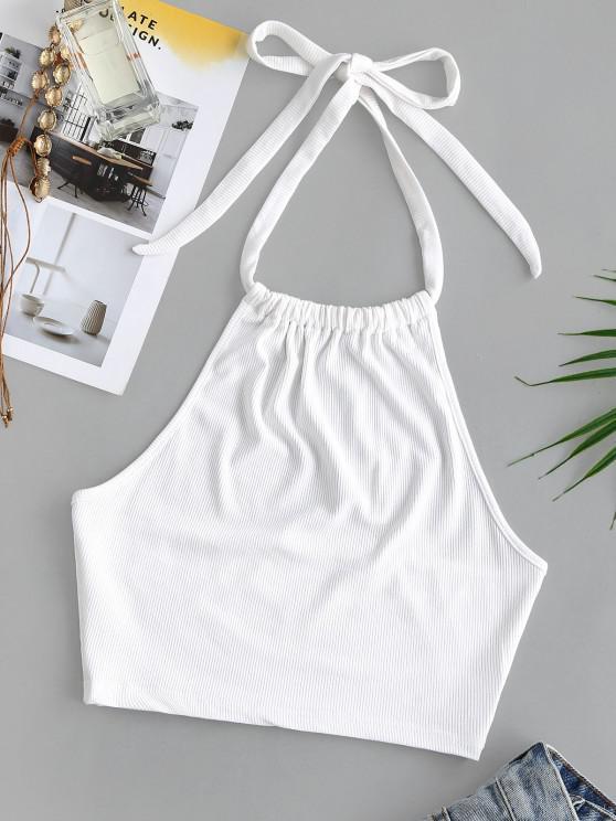 lady Halter Rib-knit Gathered Crop Tank Top - WHITE S