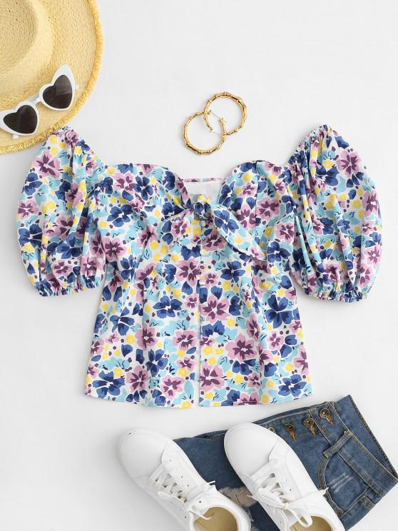 buy Tie Front Puff Sleeve Kitschy Floral Blouse - LIGHT BLUE M